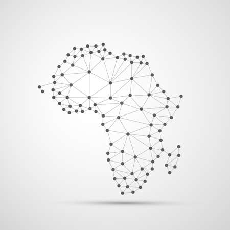 Transparent Abstract Polygonal Map of Africa, Digital Network Connections Vettoriali