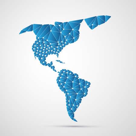 Résumé polygonal Carte de l'Amérique du Nord et du Sud avec des connexions réseau numérique