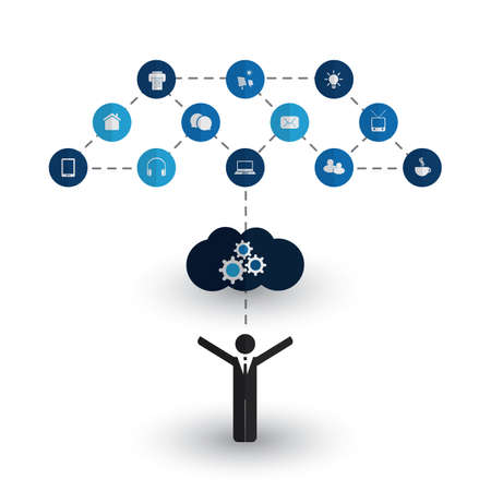 Digital World - Networks, IoT and Cloud Computing, Business and IT Management Concept Design with Icons Illustration