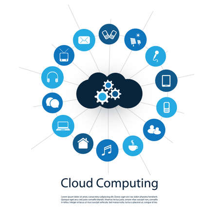 digital world: Digital World - Networks, IoT and Cloud Computing Concept Design with Icons