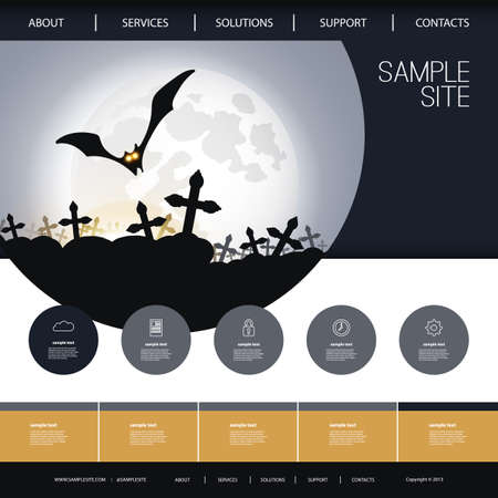 website template: Website Design for Your Business with Halloween Theme Illustration