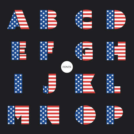 national colors: Art Deco Font Set with USA National Colors - Vintage Vector Design, Retro Typography