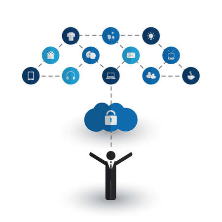 business it: Safe and Secure Digital World - Networks, IoT, Business IT and Cloud Computing Concept Design with Icons