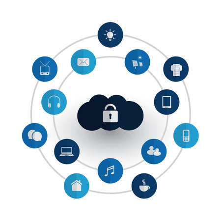 Safe and Secure Digital World - Networks, IoT and Cloud Computing Concept Design with Icons