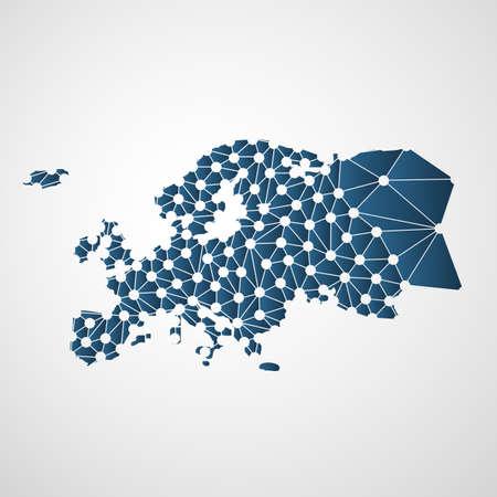 Polygonal Résumé Carte de l'Europe avec des connexions de réseau numérique - Minimal Technology Modern Style Background, Creative Design Vector Illustration Template Vecteurs