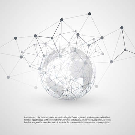 wire globe: Cloud Computing and Networks with Earth Globe - Abstract Global Digital Network Connections, Technology Concept Background, Creative Design Element Template with Transparent Geometric Grey Wire Mesh