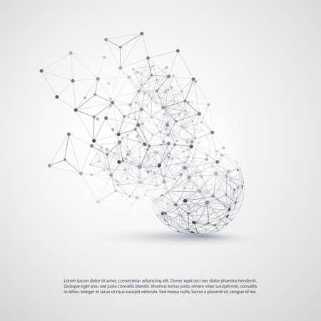 esfera: Resumen Cloud Computing y las conexiones de red Concepto de diseño con malla geométrica transparente, esfera de estructura metálica