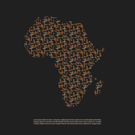 Résumé réseau Carte Patterned de l'Afrique - Contexte minimal de technologie de style moderne, modèle Illustration créatif design