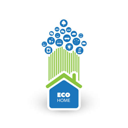 biosphere: Green Eco Friendly Smart Home Concept with Icons - Illustration in Editable Vector Format Illustration