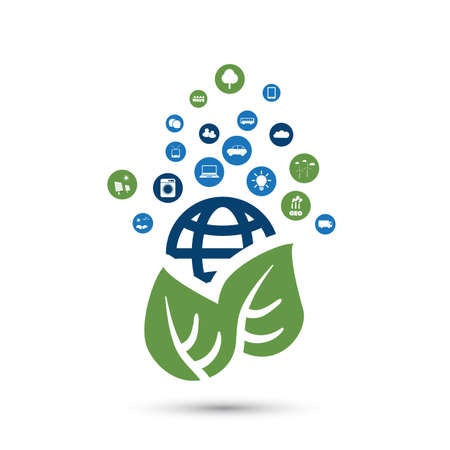eco icons: Green Eco Friendly World Concept with Icons - Illustration in Editable Vector Format