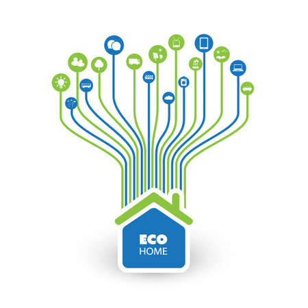 green computing: Green Eco Friendly Smart Home - Cloud Computing, IoT, IIoT, Networking, Future Technology Concept Background Template with Icons - Illustration in Editable Vector Format