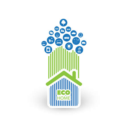 biosphere: Green Eco Friendly Smart Home Concept with Icons Illustration