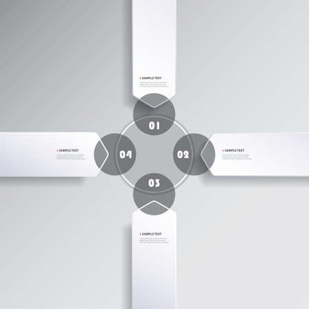 copy center: Black and White Minimal Infographics Creative Design, Presentation Template - Rounded Arrows