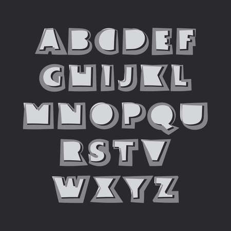 bold: Modern Black and White Bold Font Set Design Illustration