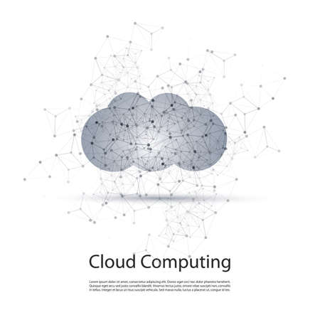 peer to peer: Blanco y Negro Minimal Cloud Computing, Redes Estructura, Telecomunicaciones concepto de diseño de carcasa Con geométrico transparente Vectores