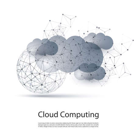 cloud cover: Abstract Black and White Minimal Modern Style Cloud Computing, Networks Structure, Telecommunications Concept Design, Network Connections, Transparent Geometric Wireframe
