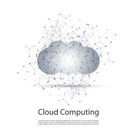 junction: Black and White Minimal Cloud Computing, Networks Structure, Telecommunications Concept Design With Transparent Geometric Wireframe