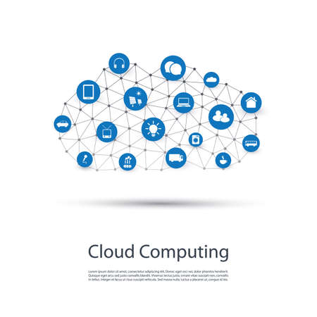 Cloud Computing, IoT, IIoT, Networking, Future Technology Concept Background, Creative Design Template with Icons