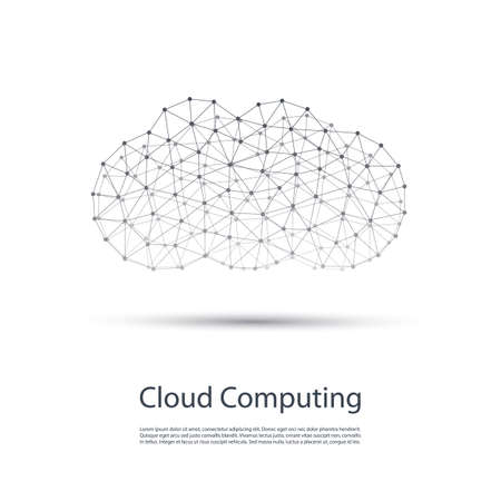 mesh: Black and White Minimal Cloud Computing, Networks Structure, Telecommunications Concept Design With Wireframe
