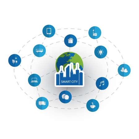Smart City Design Concept con icone Vettoriali