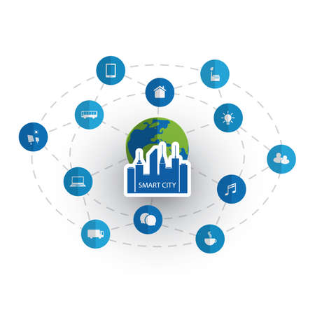 Smart City Design Concept with Icons Vector Illustration