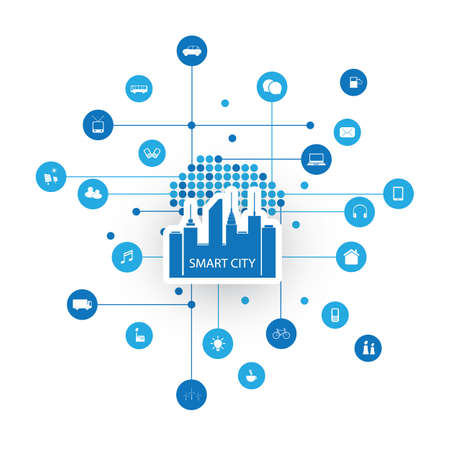 Smart City Design Concept with Icons 일러스트