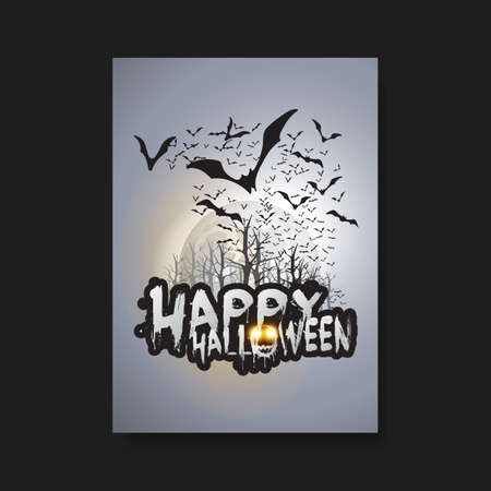 spooky eyes: Happy Halloween Card, Flyer or Cover Template - Flying Bats Over the Autumn Woods and Spooky Creatures with Glowing Eyes