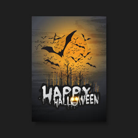 flying bats: Happy Halloween Card, Flyer or Cover Template - Flying Bats Over the Autumn Woods and Spooky Creature with Glowing Eyes