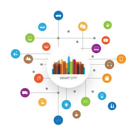 Colorful Smart City Design Concept avec icônes Banque d'images - 61011296