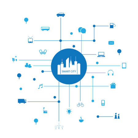 smart: Smart City Design Concept with Icons Illustration