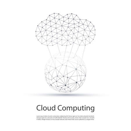 Black and White Minimal Cloud Computing, Networks Structure, Telecommunications Concept Design With Wireframe - Vector Illustration
