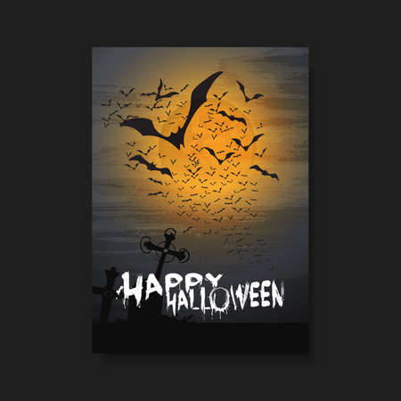 flying bats: Happy Halloween Card, Flyer or Cover Template - Flying Bats Over the Cemetery in the Fog