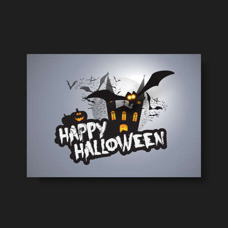 flying bats: Happy Halloween Card, Flyer or Cover Template - Flying Bats Over A Dark Castle and Spooky Pumpkins with Glowing Eyes Illustration
