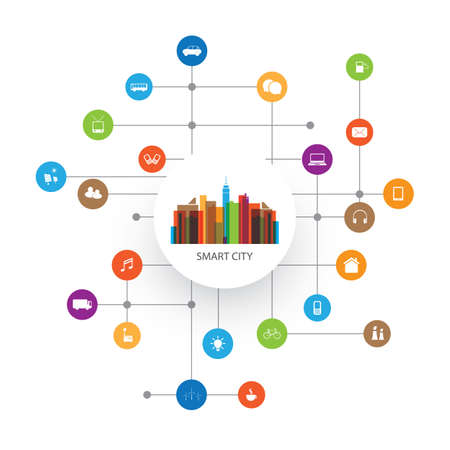 Kleurrijke Smart City Design Concept met pictogrammen Stock Illustratie