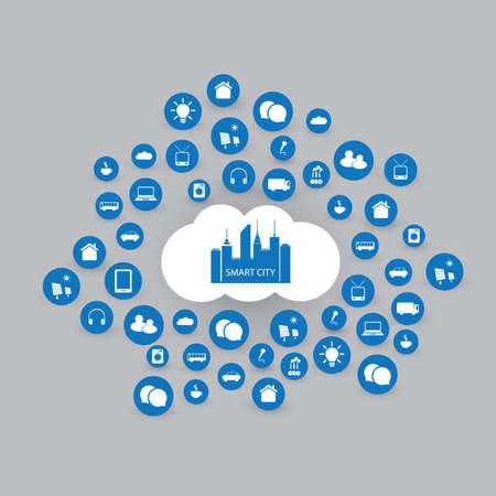 internet background: Smart City Design Concept with Icons Illustration
