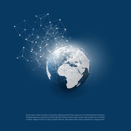 Abstract Cloud Computing and Global Network Connections Concept Design with Transparent Geometric Mesh, Wireframe Sphere, Earth Globe