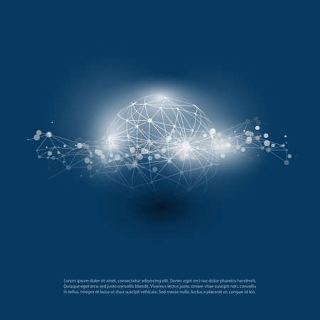 Abstract Cloud Computing and Global Network Connections Concept Design with Transparent Geometric Mesh, Wireframe Sphere Illustration
