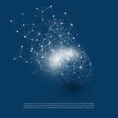 Estratto Cloud Computing e Global Network Connections Concept Design con maglia geometrica trasparente, wireframe sfera Vettoriali