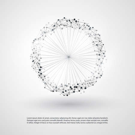 Abstract Cloud Computing and Global Network Connections Concept Design with Transparent Geometric Mesh, Wireframe Ring Ilustração