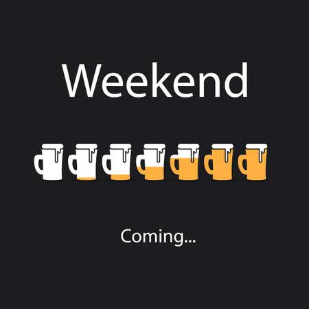 positiveness: Weekends Coming Banner With Beer Mugs
