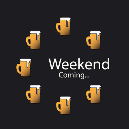 frothy: Weekends Coming Banner With Beer Mugs