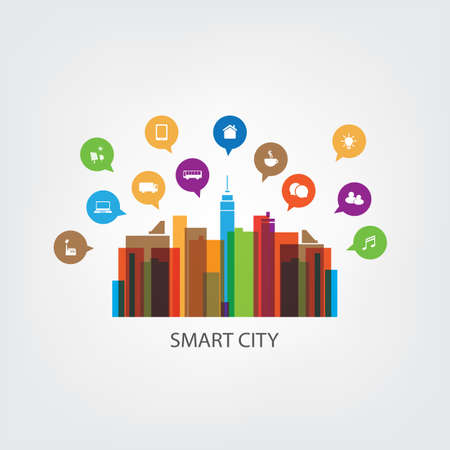 Colorful Smart City Design Concept with Icons Illustration