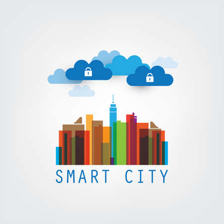 things: Colorful Smart City Design Concept with Icons Illustration