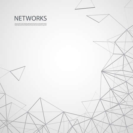 Networks, Connections Concept - Black and White Geometric Mesh, Vector Background