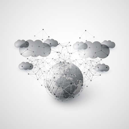 Abstract Cloud Computing and Global Network Connections Concept Design with Earth Globe and Transparent Geometric Mesh, Wire Frame Sphere