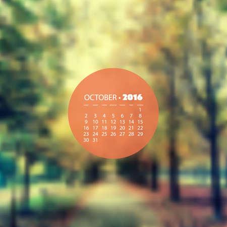 walkway: Monthly Calendar 2016, October - Blurred Background, Woods, Autumn Walkway in the Park, Vector Illustration Design Illustration
