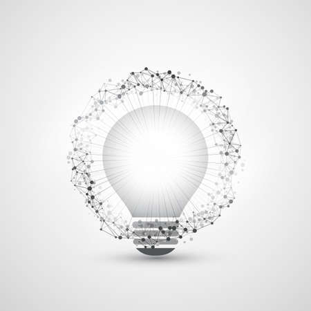 the energy center: Abstract Modern Style Cloud Computing, Global Technology and Network Connections Concept Design with Light Bulb, Transparent Geometric Mesh Structure, Wire Frame Ring Illustration