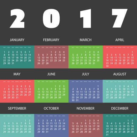 毎月の異なる背景を持つ 2017年カラフルなカレンダーのデザイン