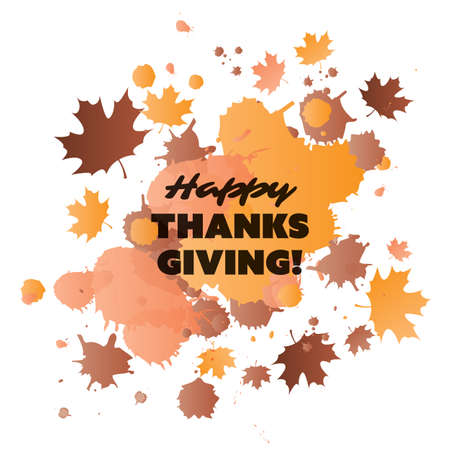 Happy Thanksgiving Card Design Template with Scattered Fallen Autumn Leaves - Watercolor Style Illustration