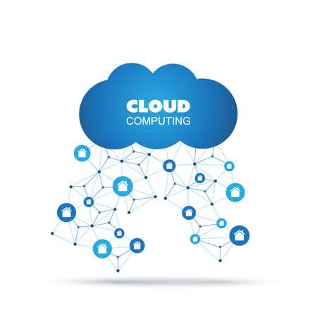 peer to peer: Cloud Computing, la IO, IIoT, Redes, Concepto futuro de la tecnología, plantilla de diseño creativo con los iconos